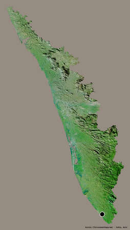 Shape of Kerala, state of India, with its capital isolated on a solid color background. Satellite imagery. 3D rendering