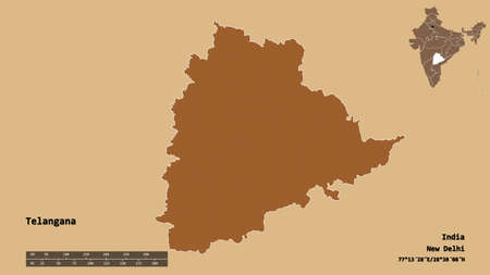 Shape of Telangana, state of India, with its capital isolated on solid background. Distance scale, region preview and labels. Composition of patterned textures. 3D rendering Stock Photo