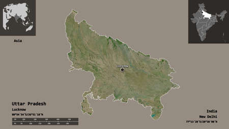 Shape of Uttar Pradesh, state of India, and its capital. Distance scale, previews and labels. Satellite imagery. 3D rendering Stock Photo
