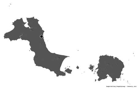 Shape of Bangka-Belitung, province of Indonesia, with its capital isolated on white background. Bilevel elevation map. 3D rendering