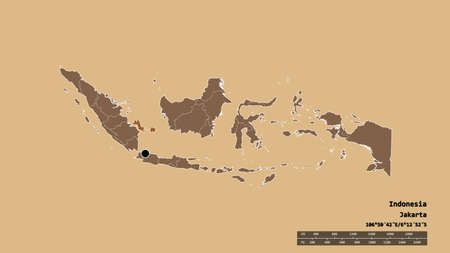 Desaturated shape of Indonesia with its capital, main regional division and the separated Bangka-Belitung area. Labels. Composition of patterned textures. 3D rendering