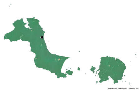 Shape of Bangka-Belitung, province of Indonesia, with its capital isolated on white background. Topographic relief map. 3D rendering