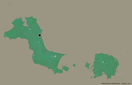 Shape of Bangka-Belitung, province of Indonesia, with its capital isolated on a solid color background. Topographic relief map. 3D rendering