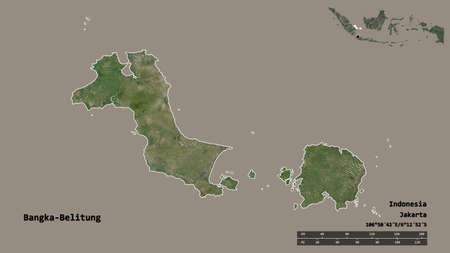 Shape of Bangka-Belitung, province of Indonesia, with its capital isolated on solid background. Distance scale, region preview and labels. Satellite imagery. 3D rendering