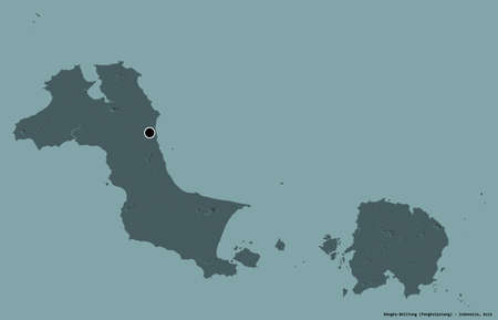 Shape of Bangka-Belitung, province of Indonesia, with its capital isolated on a solid color background. Colored elevation map. 3D rendering