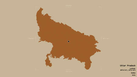 Area of Uttar Pradesh, state of India, isolated on a solid background in a georeferenced bounding box. Labels. Composition of patterned textures. 3D rendering Banco de Imagens