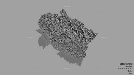 Area of Uttarakhand, state of India, isolated on a solid background in a georeferenced bounding box. Labels. Bilevel elevation map. 3D rendering