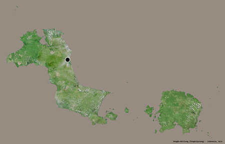 Shape of Bangka-Belitung, province of Indonesia, with its capital isolated on a solid color background. Satellite imagery. 3D rendering