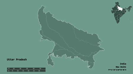 Shape of Uttar Pradesh, state of India, with its capital isolated on solid background. Distance scale, region preview and labels. Colored elevation map. 3D rendering Stock Photo