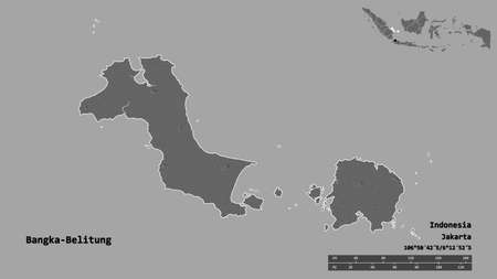 Shape of Bangka-Belitung, province of Indonesia, with its capital isolated on solid background. Distance scale, region preview and labels. Bilevel elevation map. 3D rendering