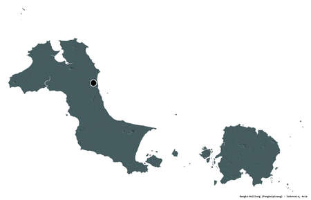 Shape of Bangka-Belitung, province of Indonesia, with its capital isolated on white background. Colored elevation map. 3D rendering