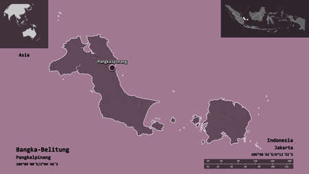 Shape of Bangka-Belitung, province of Indonesia, and its capital. Distance scale, previews and labels. Colored elevation map. 3D rendering