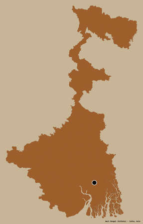 Shape of West Bengal, state of India, with its capital isolated on a solid color background. Composition of patterned textures. 3D rendering