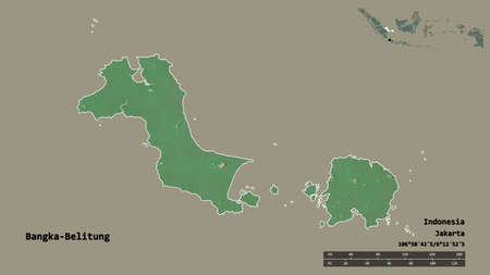 Shape of Bangka-Belitung, province of Indonesia, with its capital isolated on solid background. Distance scale, region preview and labels. Topographic relief map. 3D rendering