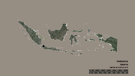 Desaturated shape of Indonesia with its capital, main regional division and the separated Bangka-Belitung area. Labels. Satellite imagery. 3D rendering