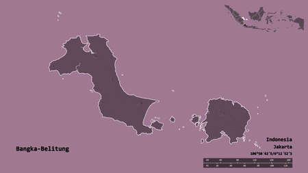 Shape of Bangka-Belitung, province of Indonesia, with its capital isolated on solid background. Distance scale, region preview and labels. Colored elevation map. 3D rendering