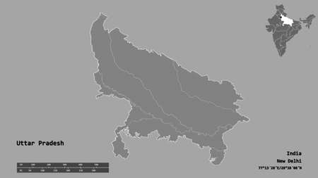 Shape of Uttar Pradesh, state of India, with its capital isolated on solid background. Distance scale, region preview and labels. Bilevel elevation map. 3D rendering Stock Photo