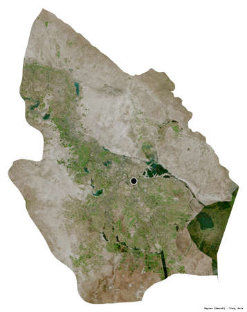 Shape of Maysan, province of Iraq, with its capital isolated on white background. Satellite imagery. 3D rendering