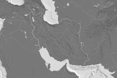 Extended area of Iran with country outline, international and regional borders. Bilevel elevation map. 3D rendering