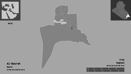 Shape of Al-Basrah, province of Iraq, and its capital. Distance scale, previews and labels. Bilevel elevation map. 3D rendering