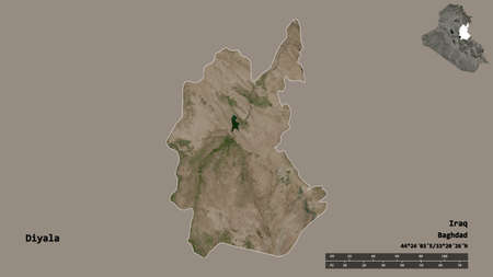 Shape of Diyala, province of Iraq, with its capital isolated on solid background. Distance scale, region preview and labels. Satellite imagery. 3D rendering Imagens