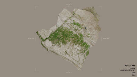 Area of At-Ta'mim, province of Iraq, isolated on a solid background in a georeferenced bounding box. Labels. Satellite imagery. 3D rendering Imagens