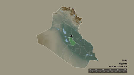 Desaturated shape of Iraq with its capital, main regional division and the separated Babil area. Labels. Topographic relief map. 3D rendering