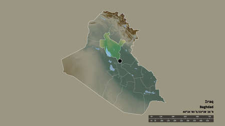 Desaturated shape of Iraq with its capital, main regional division and the separated Sala ad-Din area. Labels. Topographic relief map. 3D rendering