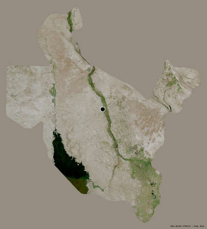 Shape of Sala ad-Din, province of Iraq, with its capital isolated on a solid color background. Satellite imagery. 3D rendering