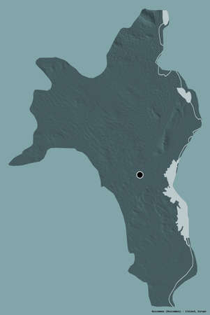 Shape of Roscommon, county of Ireland, with its capital isolated on a solid color background. Colored elevation map. 3D rendering
