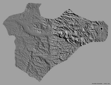Shape of Jerusalem, district of Israel, with its capital isolated on a solid color background. Bilevel elevation map. 3D rendering