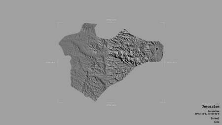 Area of Jerusalem, district of Israel, isolated on a solid background in a georeferenced bounding box. Labels. Bilevel elevation map. 3D rendering Banco de Imagens