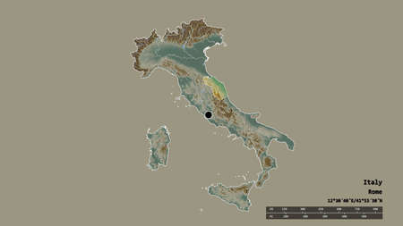 Desaturated shape of Italy with its capital, main regional division and the separated Marche area. Labels. Topographic relief map. 3D rendering Archivio Fotografico