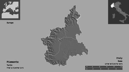 Shape of Piemonte, region of Italy, and its capital. Distance scale, previews and labels. Bilevel elevation map. 3D rendering
