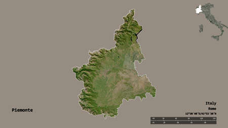 Shape of Piemonte, region of Italy, with its capital isolated on solid background. Distance scale, region preview and labels. Satellite imagery. 3D rendering