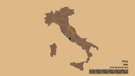 Desaturated shape of Italy with its capital, main regional division and the separated Marche area. Labels. Composition of patterned textures. 3D rendering