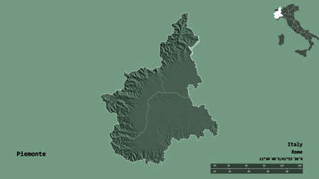 Shape of Piemonte, region of Italy, with its capital isolated on solid background. Distance scale, region preview and labels. Colored elevation map. 3D rendering