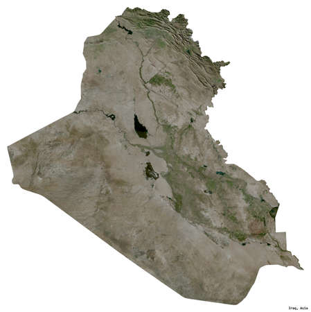 Shape of Iraq with its capital isolated on white background. Satellite imagery. 3D rendering