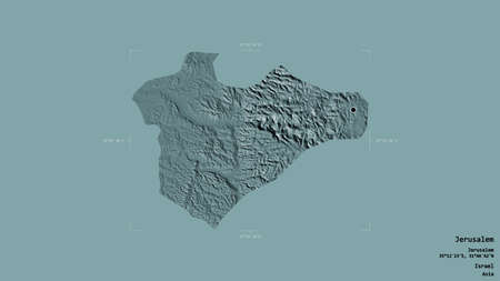 Area of Jerusalem, district of Israel, isolated on a solid background in a georeferenced bounding box. Labels. Colored elevation map. 3D rendering Banco de Imagens