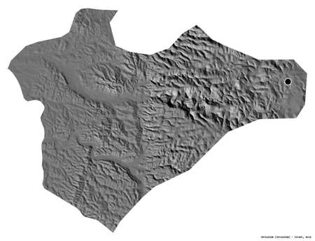 Shape of Jerusalem, district of Israel, with its capital isolated on white background. Bilevel elevation map. 3D rendering