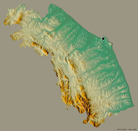 Shape of Marche, region of Italy, with its capital isolated on a solid color background. Topographic relief map. 3D rendering