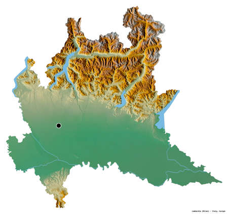 Shape of Lombardia, region of Italy, with its capital isolated on white background. Topographic relief map. 3D rendering