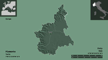 Shape of Piemonte, region of Italy, and its capital. Distance scale, previews and labels. Colored elevation map. 3D rendering Zdjęcie Seryjne