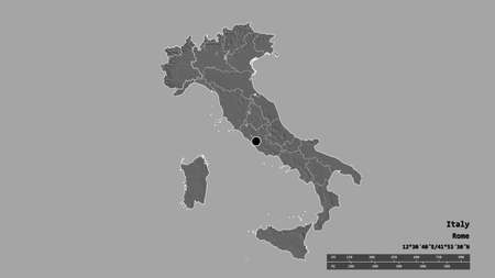 Desaturated shape of Italy with its capital, main regional division and the separated Piemonte area. Labels. Bilevel elevation map. 3D rendering