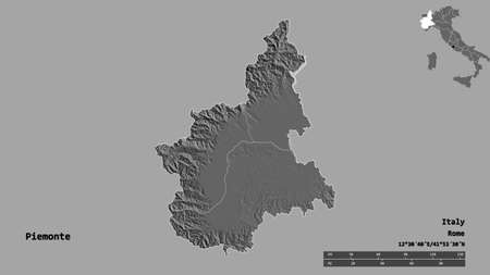 Shape of Piemonte, region of Italy, with its capital isolated on solid background. Distance scale, region preview and labels. Bilevel elevation map. 3D rendering Zdjęcie Seryjne