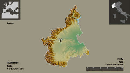 Shape of Piemonte, region of Italy, and its capital. Distance scale, previews and labels. Topographic relief map. 3D rendering