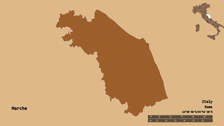 Shape of Marche, region of Italy, with its capital isolated on solid background. Distance scale, region preview and labels. Composition of patterned textures. 3D rendering