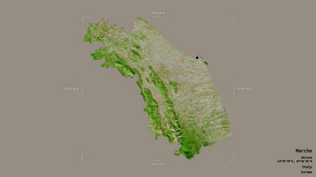 Area of Marche, region of Italy, isolated on a solid background in a georeferenced bounding box. Labels. Satellite imagery. 3D rendering