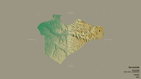 Area of Jerusalem, district of Israel, isolated on a solid background in a georeferenced bounding box. Labels. Topographic relief map. 3D rendering Banco de Imagens