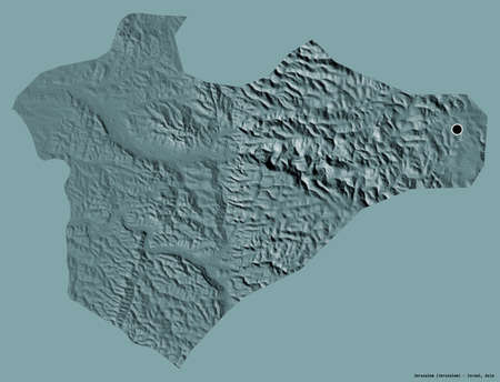 Shape of Jerusalem, district of Israel, with its capital isolated on a solid color background. Colored elevation map. 3D rendering